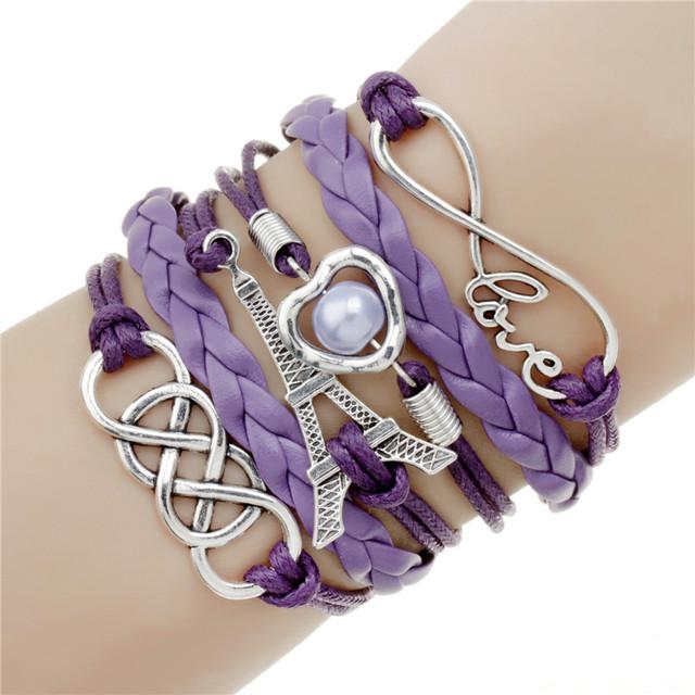 Ювелирные изделия кожа фиолетовый Эйфелева Башня любовь Двойного бесконечного многослойные ...