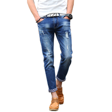 2016 Mens Cuffed Jeans Mens Ripped Skinny Jeans Slim Fit Straight Original Style Male Denim Ankle-Length Pants Joggers Plus Size