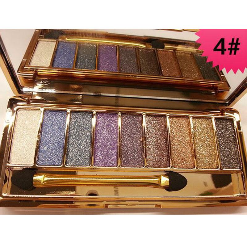 Fashion 9 Colors Eyeshadow Palette Women Diamond Bright Shining Colorful Makeup Eye Shadow Flash Glitter Make Up Set With Brush