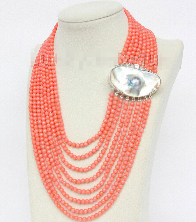 AAA 16-23 8row round pink coral beads necklace 925s mabe pearl clasp j9607^^^@^Noble style Natural Fine jewe FREE SHIPPING<br><br>Aliexpress