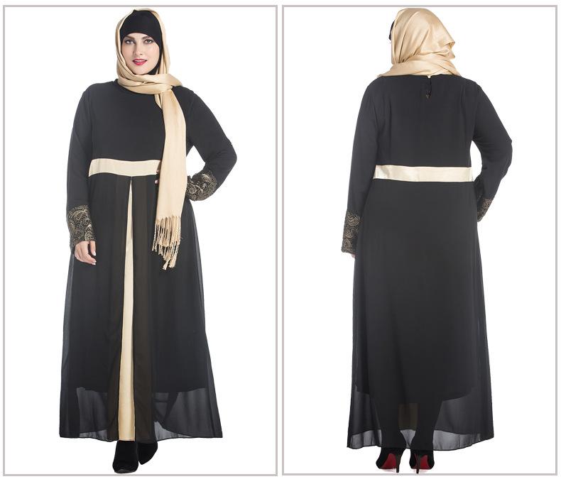 Cheap Prices Pure Color Chiffon Abaya Dress High Waist Embroidery Lace O Neck Muslim Women Two Layers Plus Size XL To 7XL Dress(China (Mainland))