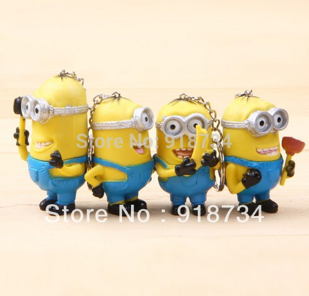 2014 NEW Cartoon Despicable Me 3D Eye Minions Key Chains 4pcs/set Anime Doll PVC Action Figures classic Kid toys Free Shipping(China (Mainland))