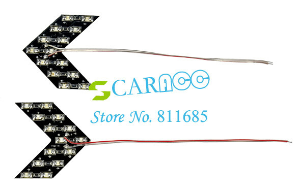 2pcs 3 Colors 14-SMD LED Arrow Panels Light For Car Side Mirror Turn Signal Indicator Light hot sale 30