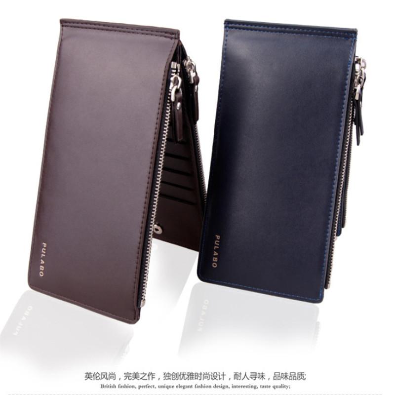 Fashion Men Wallet PU Leather Long Wallet Men Double Zipper Purses bag Card Holder B011