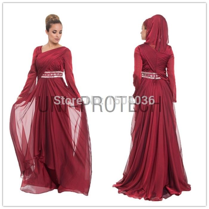 Fashion Beaded Burgundy Chiffon Islamic Formal Maxi Dresses Abaya Long Sleeve Muslim Clothing Evening Dress 2015 - Suzhou Aila Dance Co.,Ltd store