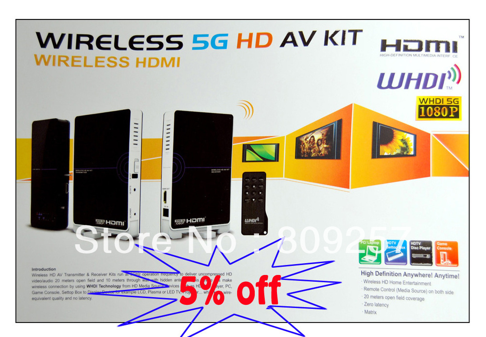 DHL/UPS Fast Free Shipping Wireless HDMI 5Ghz Transmitter and Receiver Support 3D movies WHDI 1080P TV PC Video Wireless Kits(China (Mainland))