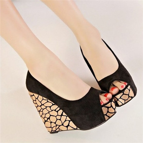 High-Heeled Wedges Platform Open Toe Shoes Pumps Women's Shoe sys-728