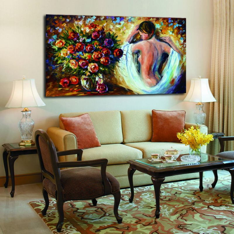 100% Handpainted Body Art Sexy Nude Girl Canvas Oil Paintings Coloring By Numbers Unique Wall Art for Home Hotel Decoration(Hong Kong)