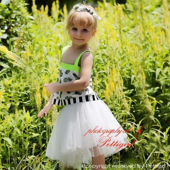 2016 New Girls Clothing Sets Pattern Top With Tutu Dress And Headband 3 PCS For Kids Clothes Retail(Hong Kong)