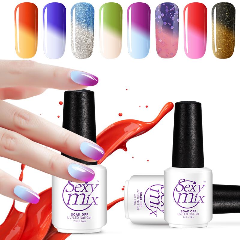 7ML Color Changing With Temperature UV Nail Gel Lacquer Soak Off Nail Art UV Nail Polish Chameleon Colorful UV Gel Polish(China (Mainland))