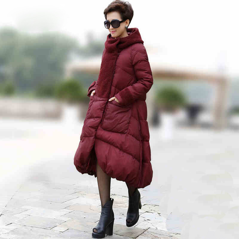 Top quality 2015 Europe new long winter coat women A-line loose white duck down coat female outerwear plus size s-5xl  DX346Одежда и ак�е��уары<br><br><br>Aliexpress