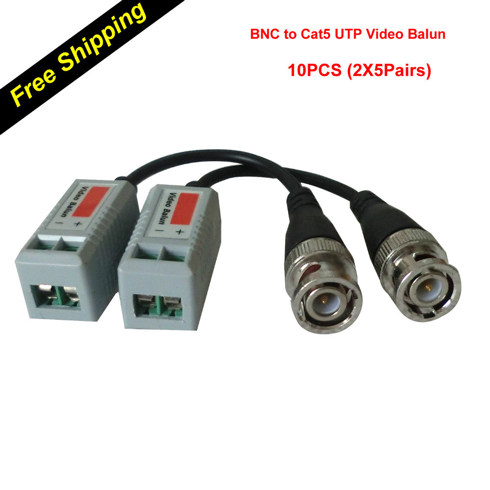 Passive Twisted Video Balun Transceiver Male BNC to CAT5 RJ45 UTP (5Pairs 10pcs) for CCTV DVR Security Camera System(China (Mainland))