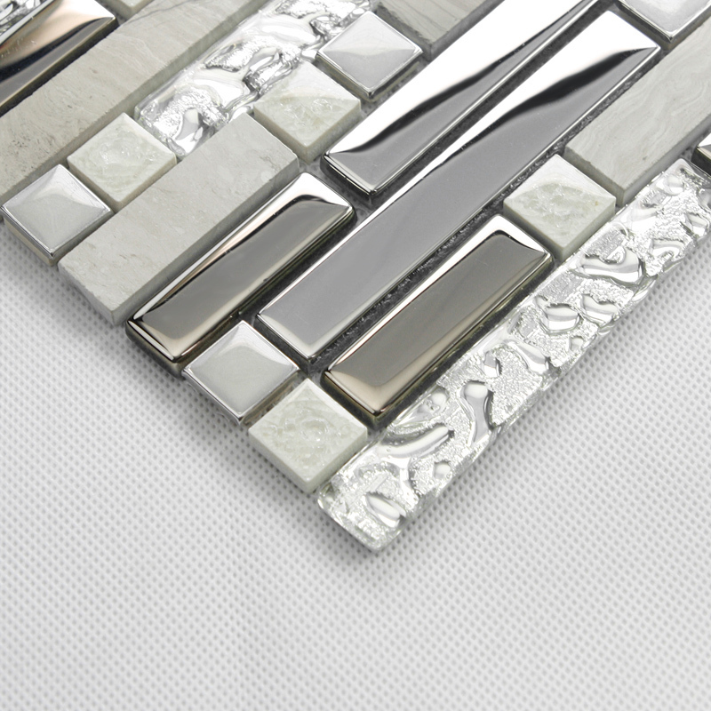 stone glass silver mosaic metallic wall fireplace tiles. Black Bedroom Furniture Sets. Home Design Ideas