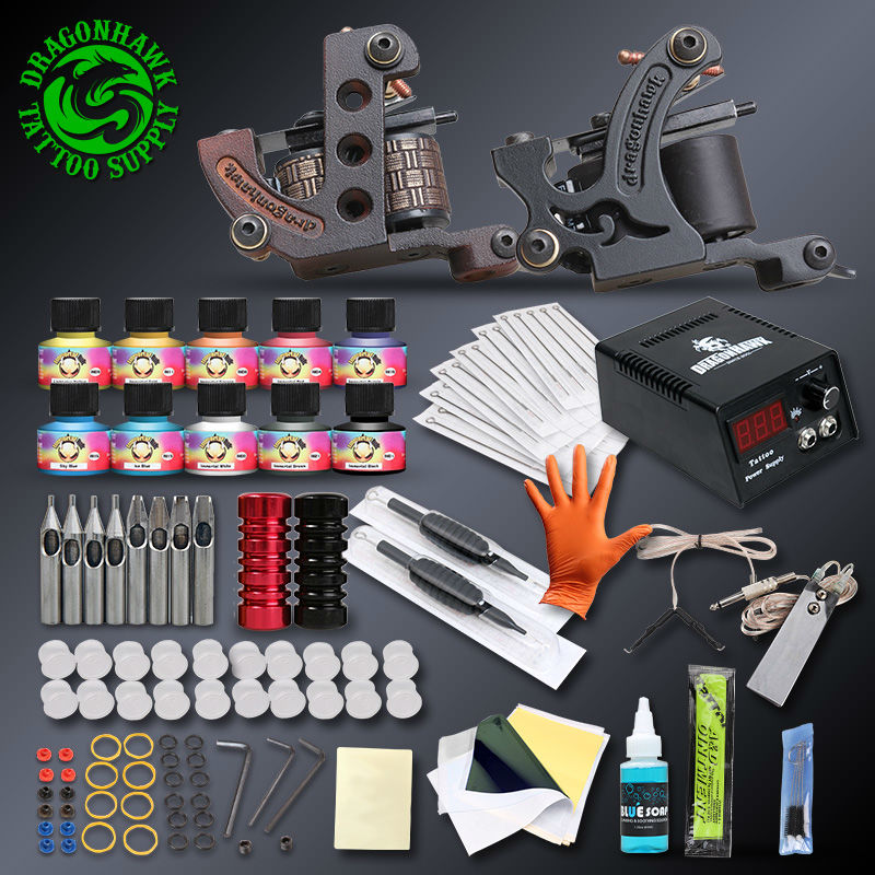 Professional complete tattoo kits set tattoo machine power for Supplies for tattooing