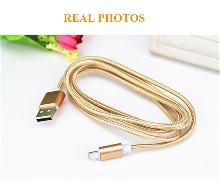 1M Nylon Braided Wire Harness Device Aluminum Alloy USB Charging Data Cable Transfer for iPhone 5 5S SE 6 6S Plus Mobile Phone
