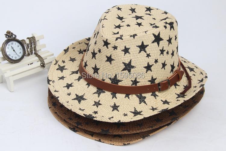 wholesale 6-15 years boys sun hats cowboy straw hat kids summer floppy cap beach hat large brim boys caps chapeu praia floppy(China (Mainland))