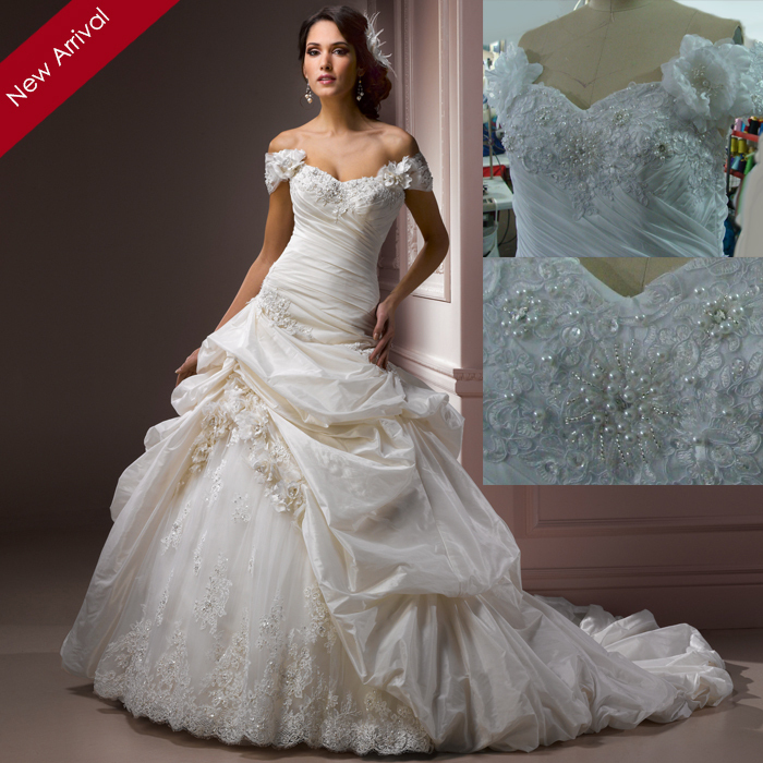 Real best selling elegant new arrival ball gown off the for Off the shoulder taffeta wedding dress