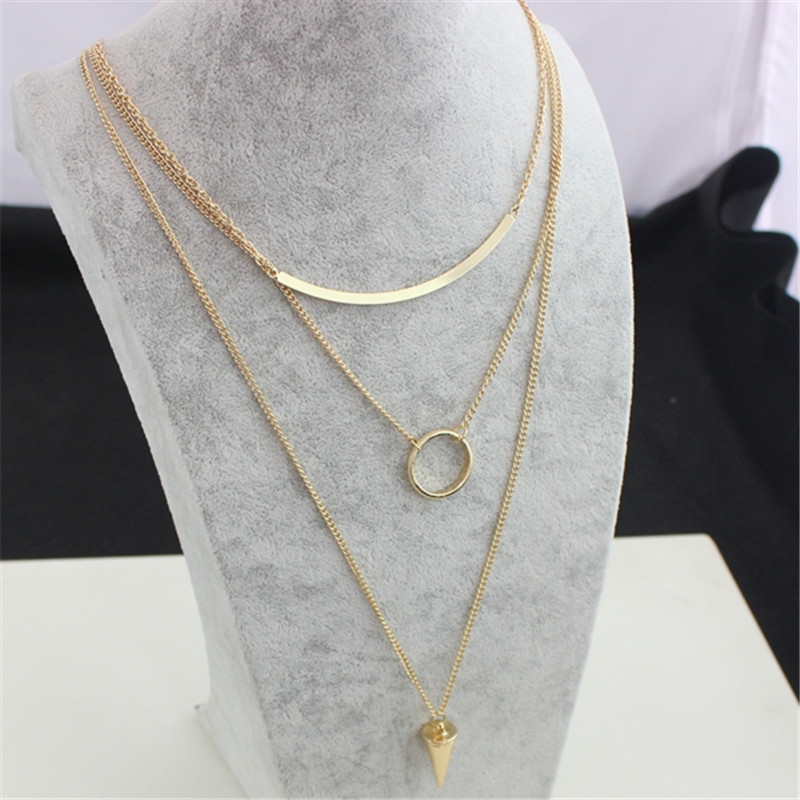 Cute Pendant Multi-Layer Necklace cone circle group Zinc Alloy  Pendant Necklace fashion jewely for Women 2015 Christmas Gift<br><br>Aliexpress