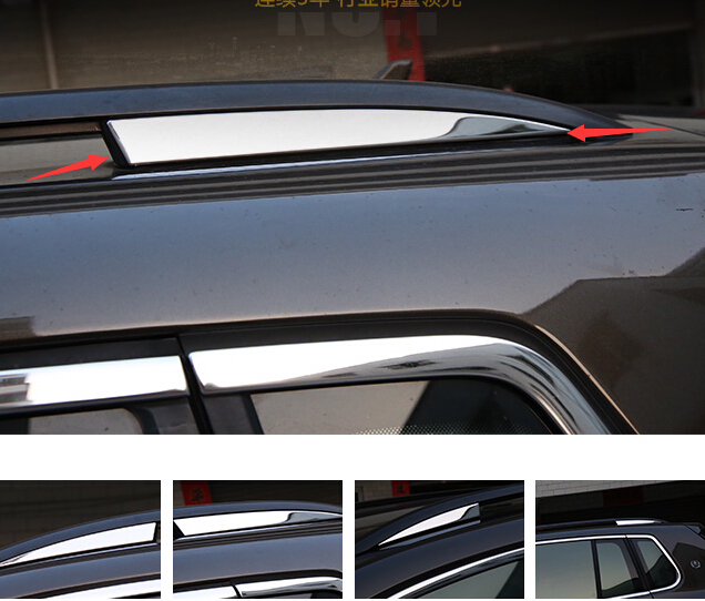 FOR 2010-2015 VW TIGUAN VW VOLKSWAGEN TIGUAN ROOF RACK TRIM COVER STICKER STAINLESS STEEL BEZEL AUTO ACCESSORIES(China (Mainland))