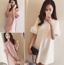 2016 summer new Korean version of women's fashion show thin solid loose straight lace short sleeved Chiffon Dress son(China (Mainland))