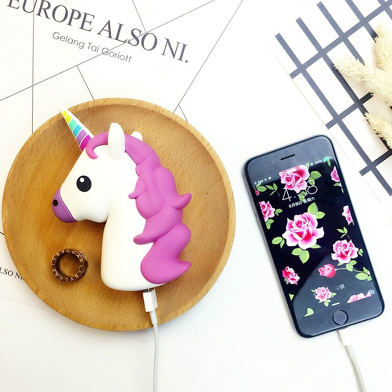 2600 mAh Unicorn Power Bank for iPhone SAMSUNG Xiaomi Lovely Emoji Cartoon Cute Unicorn Portable External Backup Battery Charger