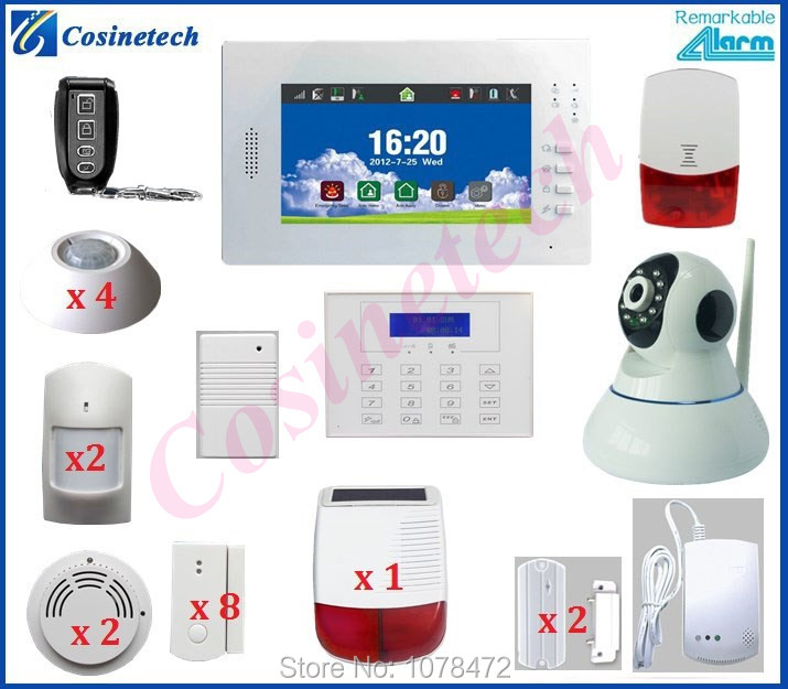 Customized 7 inch Touch screen 868 gsm alarm system+surveillance IP camera+Solar siren for home security WIFI alarm system(China (Mainland))