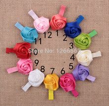 Girls Hairpins Ribbon Rose Flower Hair Clip Girls Hair Accessories Hairclip Kids Birthday Gift 5PCS/Lot(China (Mainland))