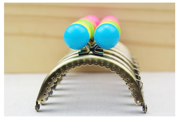 Free Shipping/24color /Big bead bronze Smooth semicircle candy bead purse frame ,purse frame for DIY Bag Accessories / Wholesale(China (Mainland))