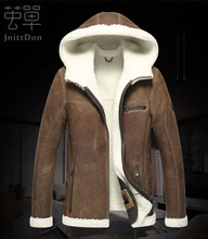 The new fur one man hooded fur jacket leather leather men 's leather jacket men' s brand sheepskin coat(China (Mainland))