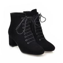 Meotina yarım çizmeler Kadınlar Blok Topuk Bayanlar Çizmeler Yüksek Topuklu kısa çizmeler Sonbahar Nedensel Yuvarlak Ayak bağcıklı ayakkabı 43(China)