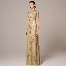 Coniefox New Styles Beaded Green Lace Embroidery Chinese Style Prom Evening Long Dress A-Line gown Gold formal Dresses 31216(China (Mainland))