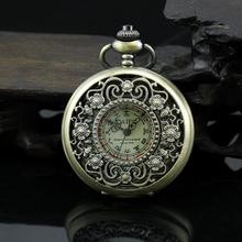 Antique Bronze Pendant Necklace Watch Semi-hollow Flower Carving Mechanical Pocket Watch Gift(China (Mainland))