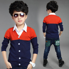 2015 Autumn and Winter new products boys children sweater spell color V-neck sweater cardigan sweater of kid boys