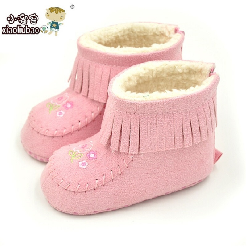 2016 New Winter Fashion Tassel Baby Shoes Infant Baby First walker Pink And Coffee Colors Embroidery Baby Girl Tassel Boots