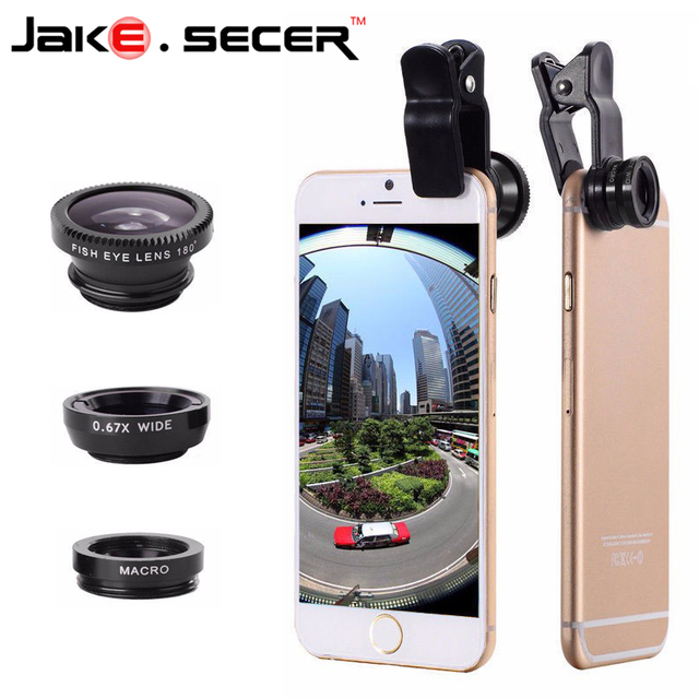 New Fish Eye Lenses + Wide Angle + Macro mobile Phone Lenses 3 in 1 Universal Smartphone Lens For Ip6S plus 5S 4S xiaomi huawei