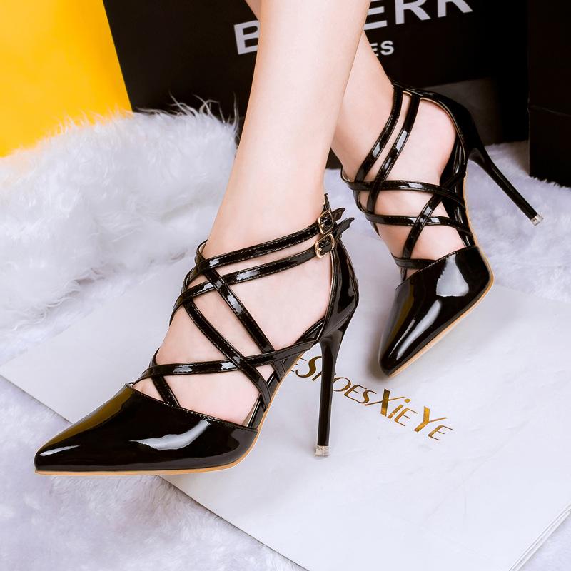 Free shipping 2015 new fashion cross-strap sandals thin heels shoes women(China (Mainland))