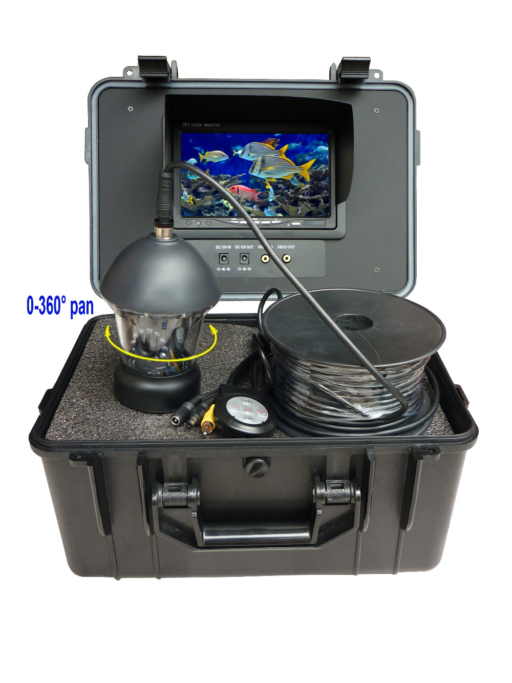 HD 700tvl 360 degree underwater waterproof camera with 20m cable CCD Camera(China (Mainland))
