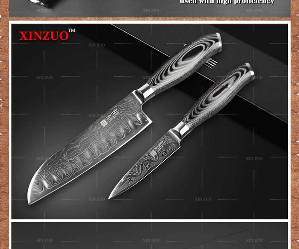Buy 2 pcs kitchen knife set 73 layers Japanese Damascus kitchen knife high quanlity VG10 chef paring knife wood handle free shipping cheap