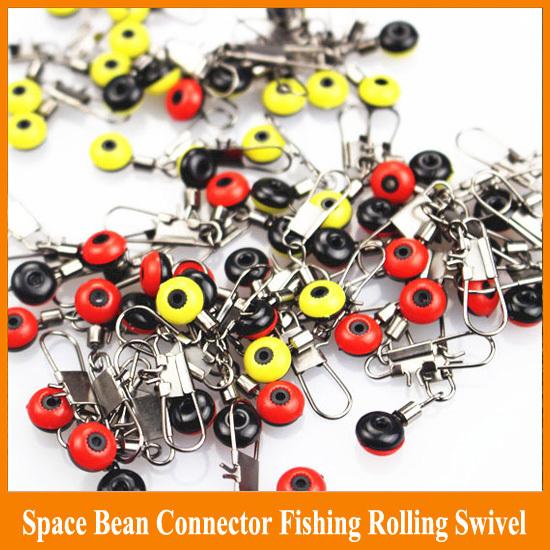 Free shipping 200pcs sea bean Connectors fishing Rolling Swivel with safty snap Connector Fishing Swivel Terminal fishing tackle(China (Mainland))