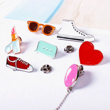 Timlee X122 Cartoon Gym shoes Balloon Lipstick Heart Sunglass Cute Metal Brooch Pins Button Pins Gift Wholesale(China (Mainland))