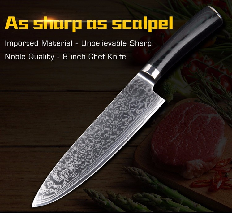 """Buy High quality 8""""inch Utility Chef Knives Imitation Damascus steel Santoku kitchen Knives Sharp Cleaver Slicing Knives Gift Knife cheap"""