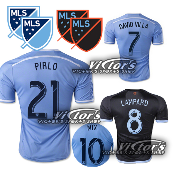 NYCFC 2015 New York City FC Soccer Jersey PIRLO 2115 16 DAVID VILLA LAMPARD Home Sky Blue Away Black New York City JERSEYS(China (Mainland))
