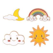 Улыбка Солнце Луна облако Радуга Эмаль булавки мультфильм смайлик лицо погода броши для детей рюкзак джинсовые куртки Нагрудный значок(China)