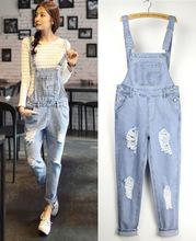 cute loose women's jeans pants denim bib female spaghetti strap jumpsuit ripped pants jeans