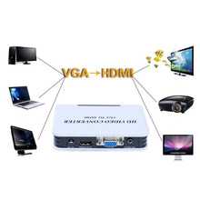 1pcs 1080P Audio VGA to HDMI HD HDTV Video Converter Box Adapter for PC Laptop DVD US plug Hot Worldwide(China (Mainland))