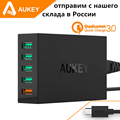 Aukey Quick Charge QC 3 0 5 Port USB Charger Station with Micro USB Cable for