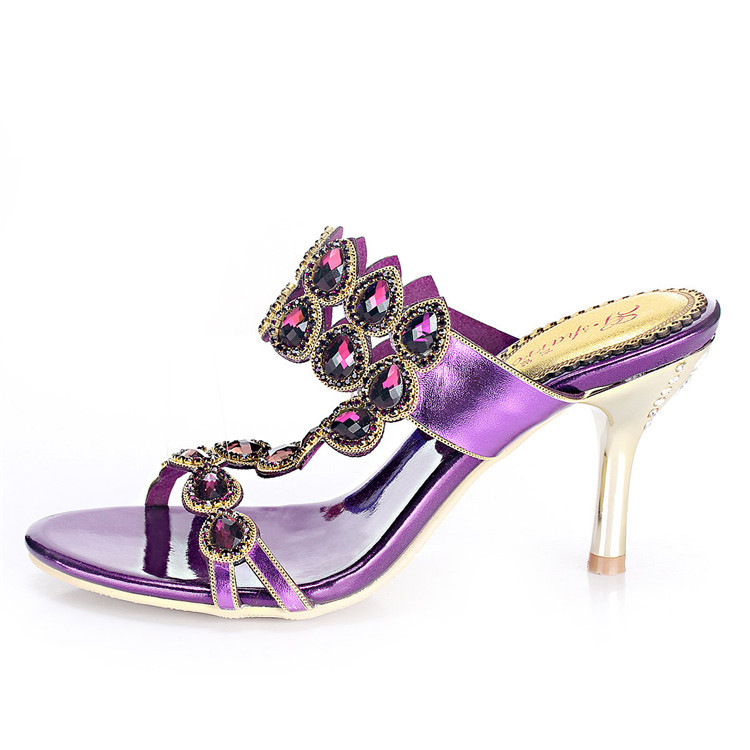 Rhinestone Pumps For Women 2015 New Sexy Stiletto Heel Shoes Women Hollow Out Luxury Brand Diamond Big Yards Sandals