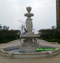 white marble fountain with statues ancient Greek mythical figures large white marble fountain project factory price fountain(China (Mainland))