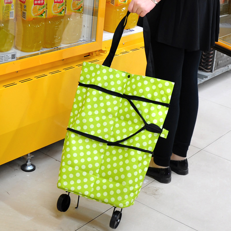 Folding Reusable Portable Supermarket Shopping Cart Bag Dots Lightweight Effortless Trolley Handles Luggage with Wheels(China (Mainland))