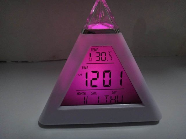 Colors Change LED Digital Triangle  Alarm Clock tower ABS desk LED clock Pyramid beautiful